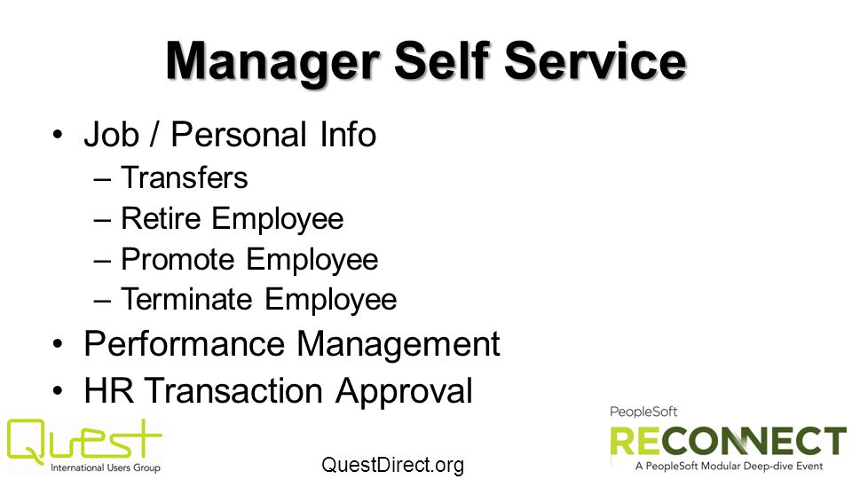 Manager Self Service Job / Personal Info Performance Management