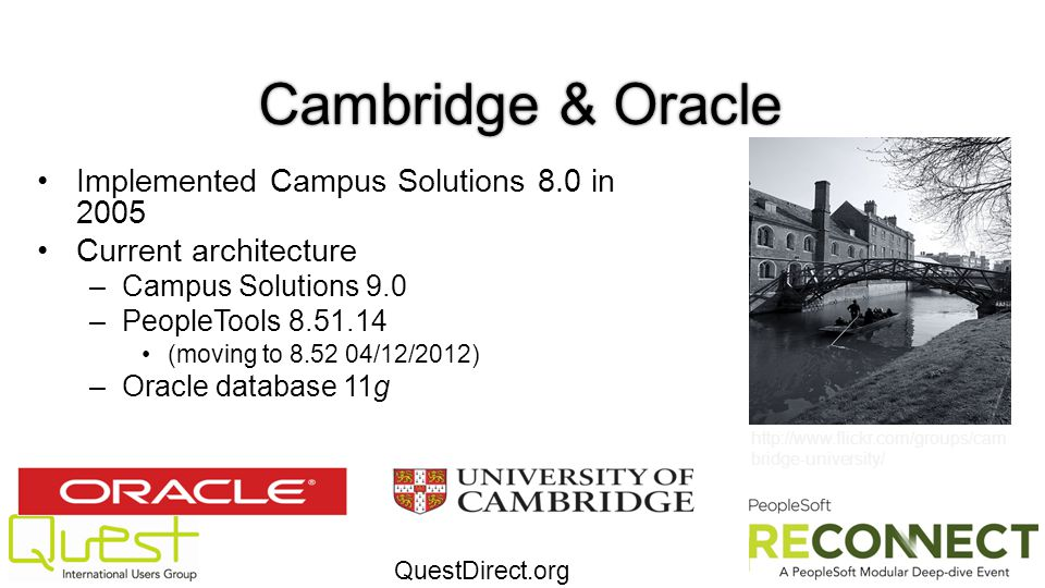 Cambridge & Oracle Implemented Campus Solutions 8.0 in 2005