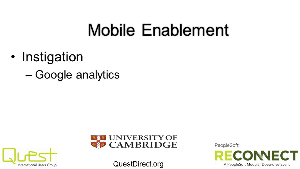 Mobile Enablement Instigation Google analytics