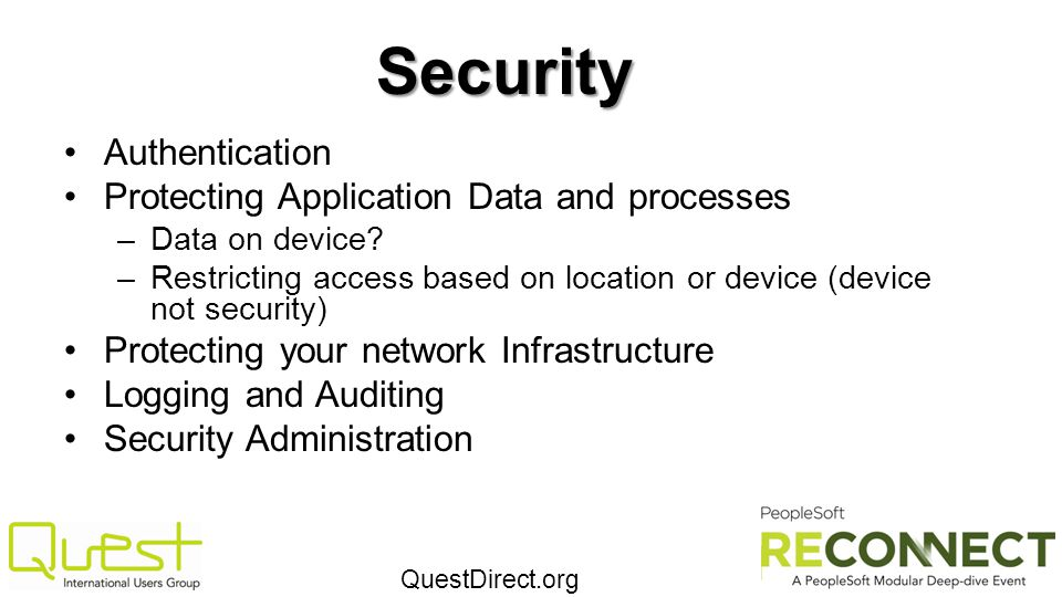 Security Authentication Protecting Application Data and processes