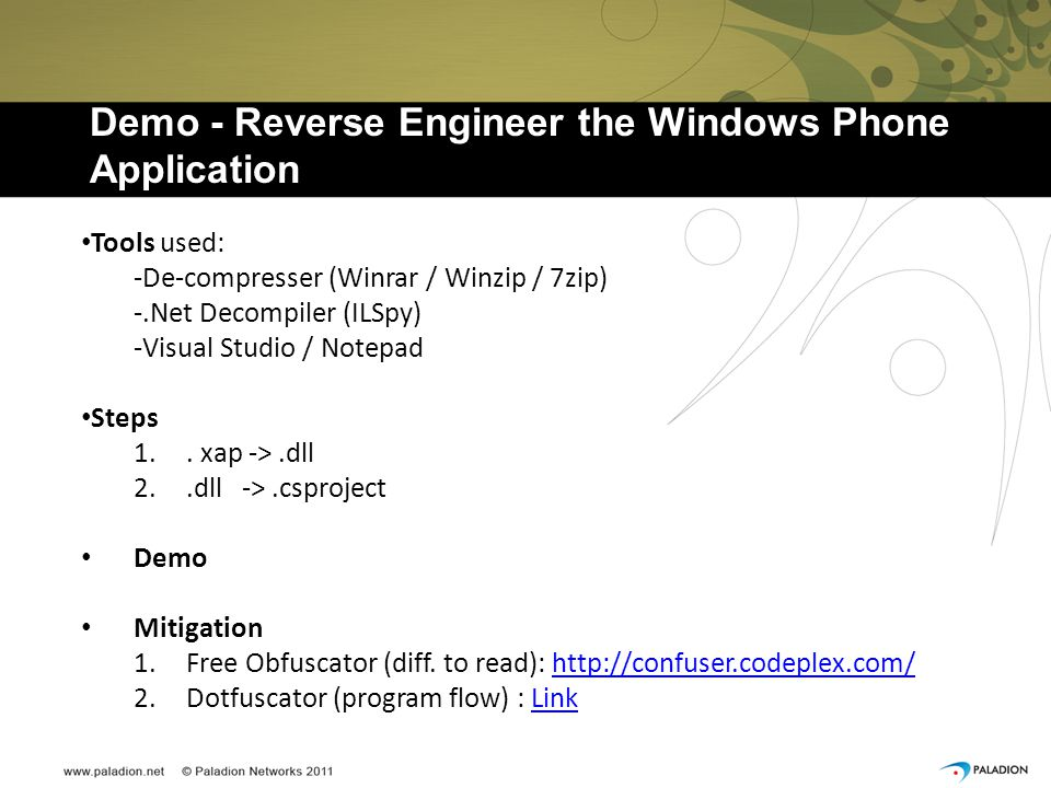 Demo - Reverse Engineer the Windows Phone Application