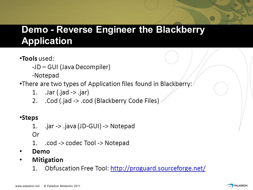 Demo - Reverse Engineer the Blackberry Application