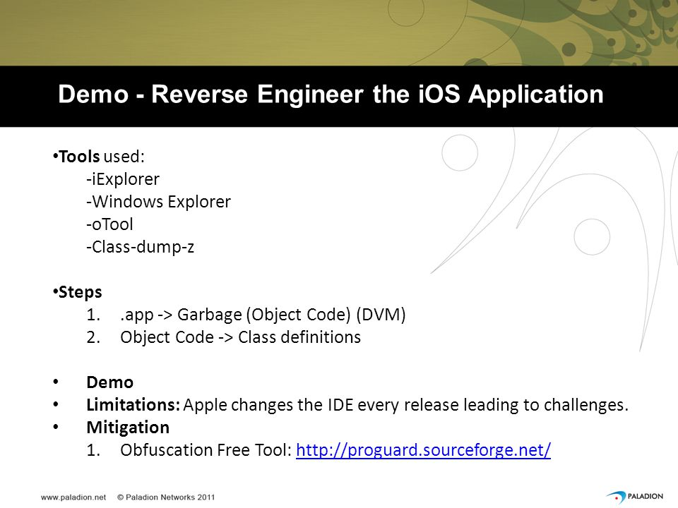 Demo - Reverse Engineer the iOS Application