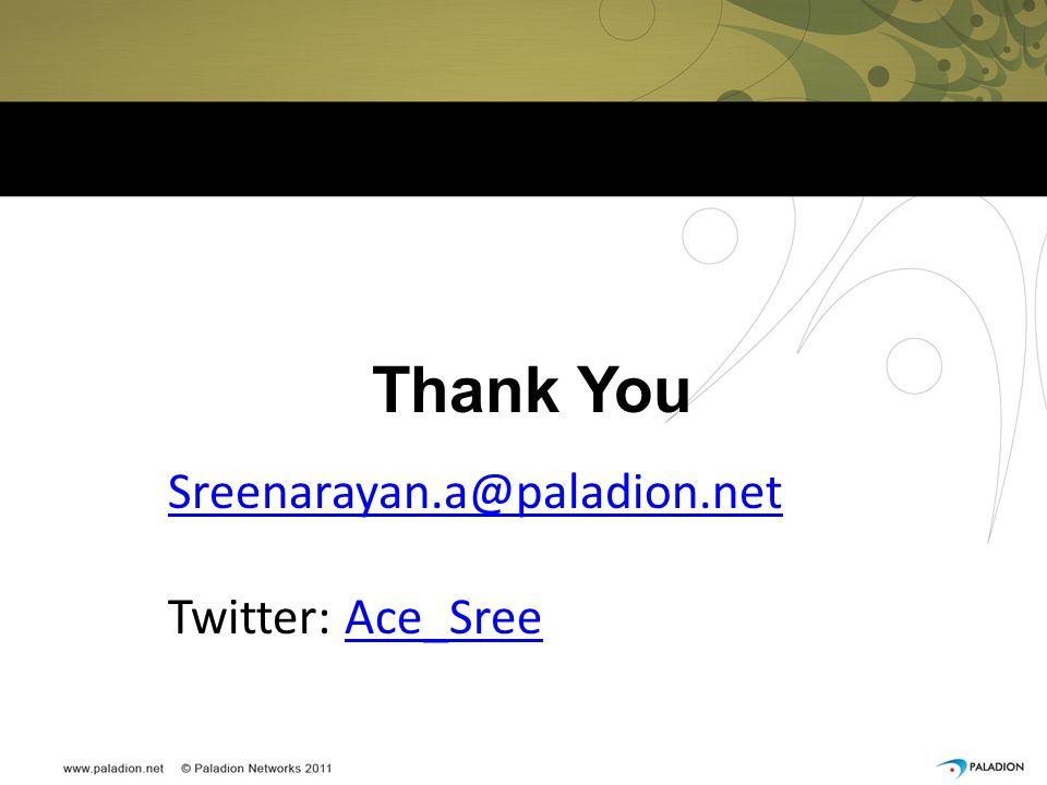 Thank You Sreenarayan.a@paladion.net Twitter: Ace_Sree