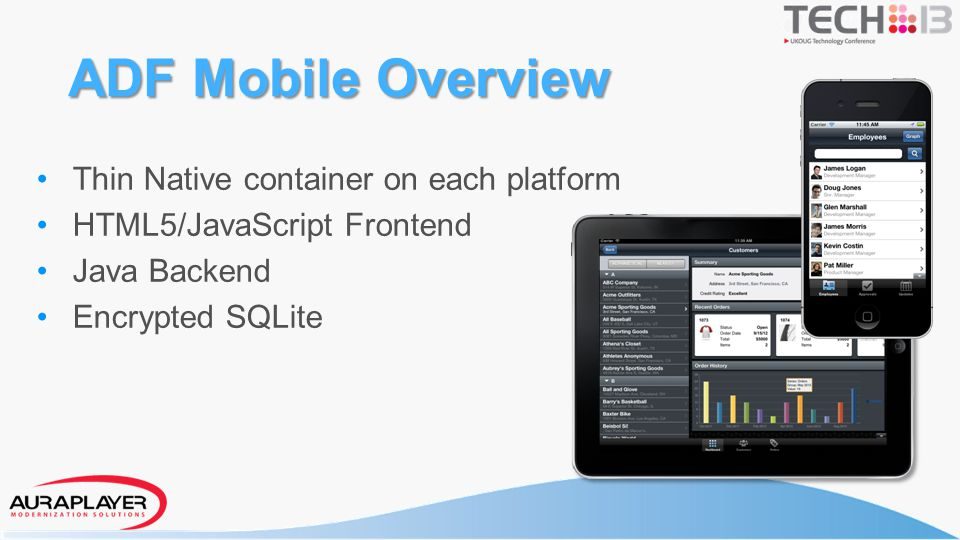 ADF Mobile Overview Thin Native container on each platform