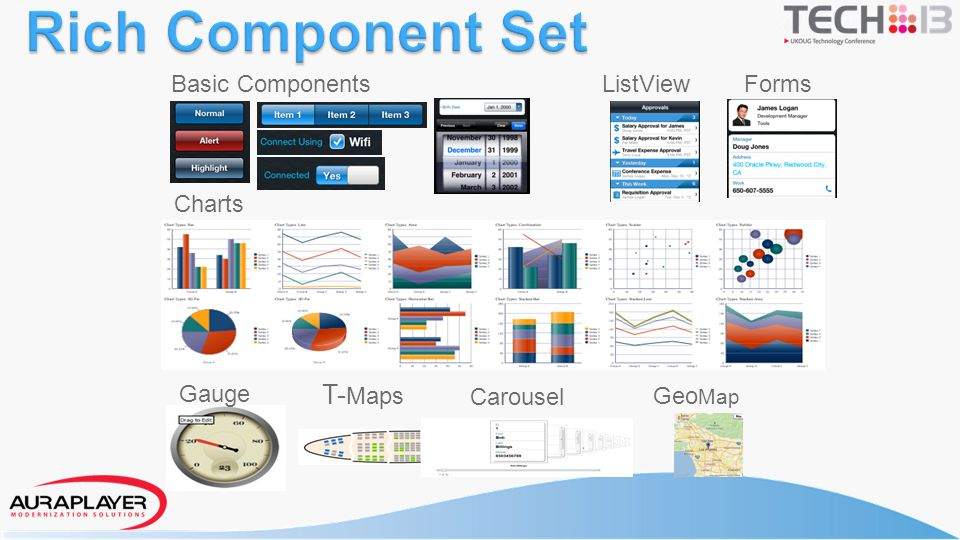 Rich Component Set Basic Components ListView Forms Charts Gauge T-Maps