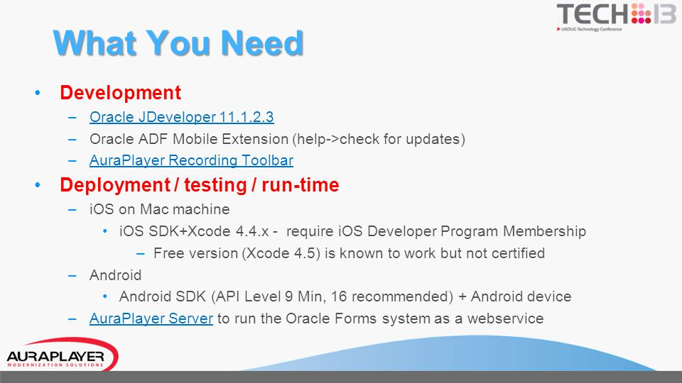 What You Need Development Deployment / testing / run-time