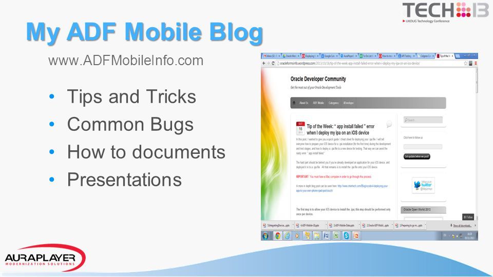 My ADF Mobile Blog Tips and Tricks Common Bugs How to documents