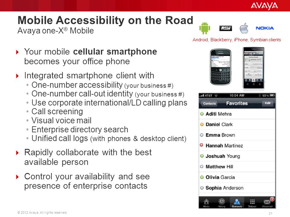 Mobile Accessibility on the Road Avaya one-X® Mobile
