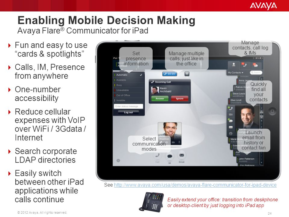 Enabling Mobile Decision Making Avaya Flare® Communicator for iPad
