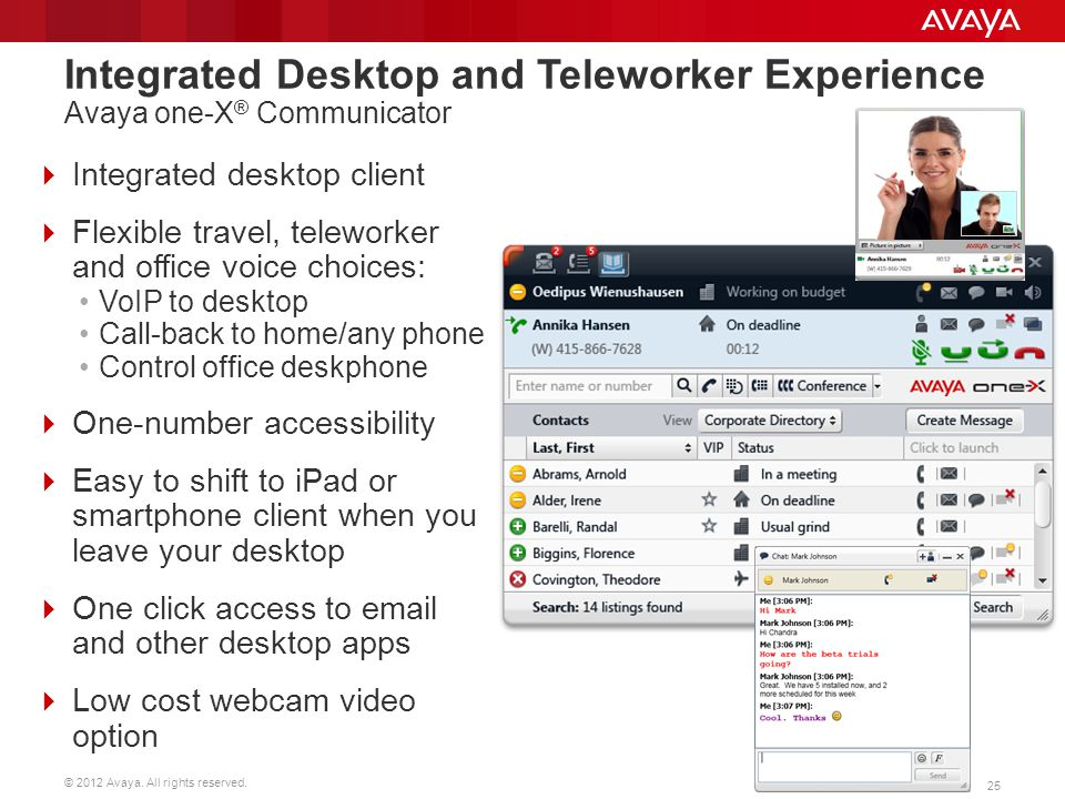 Integrated Desktop and Teleworker Experience Avaya one-X® Communicator