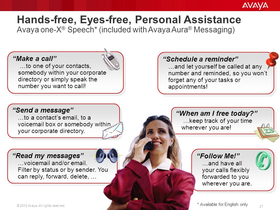 Hands-free, Eyes-free, Personal Assistance Avaya one-X® Speech