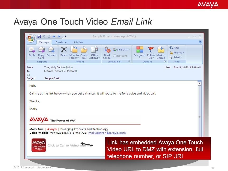 Avaya One Touch Video Email Link