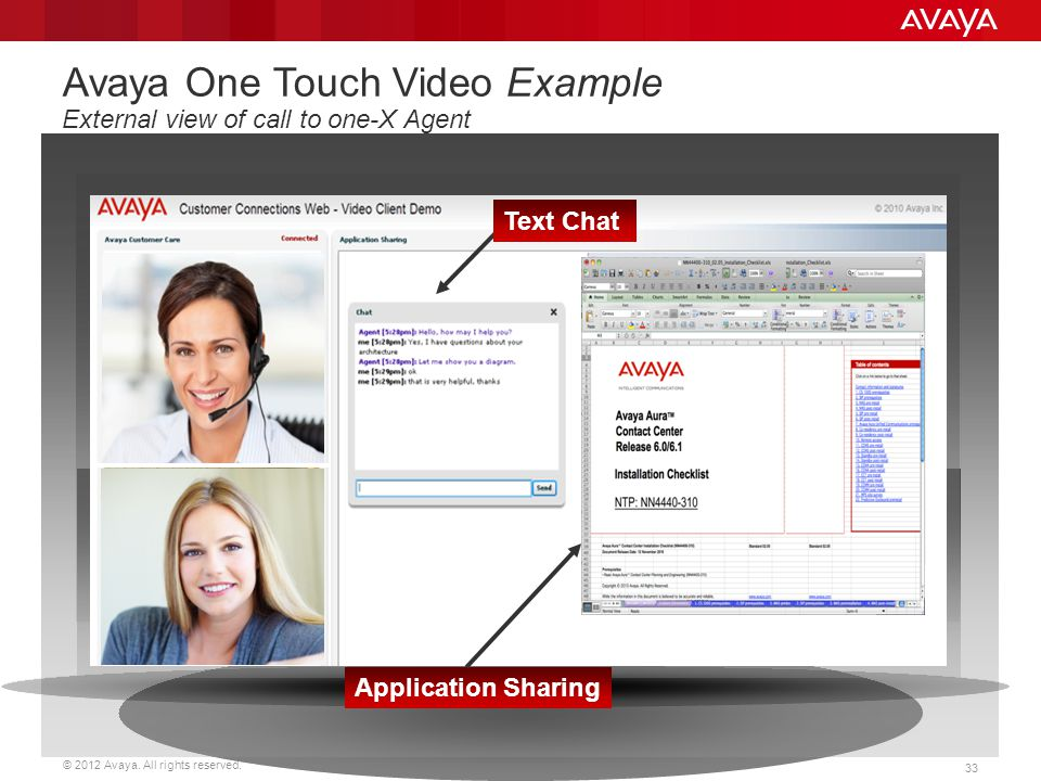 Avaya One Touch Video Example