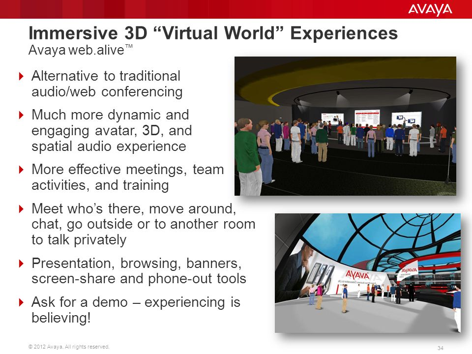 Immersive 3D Virtual World Experiences Avaya web.alive™