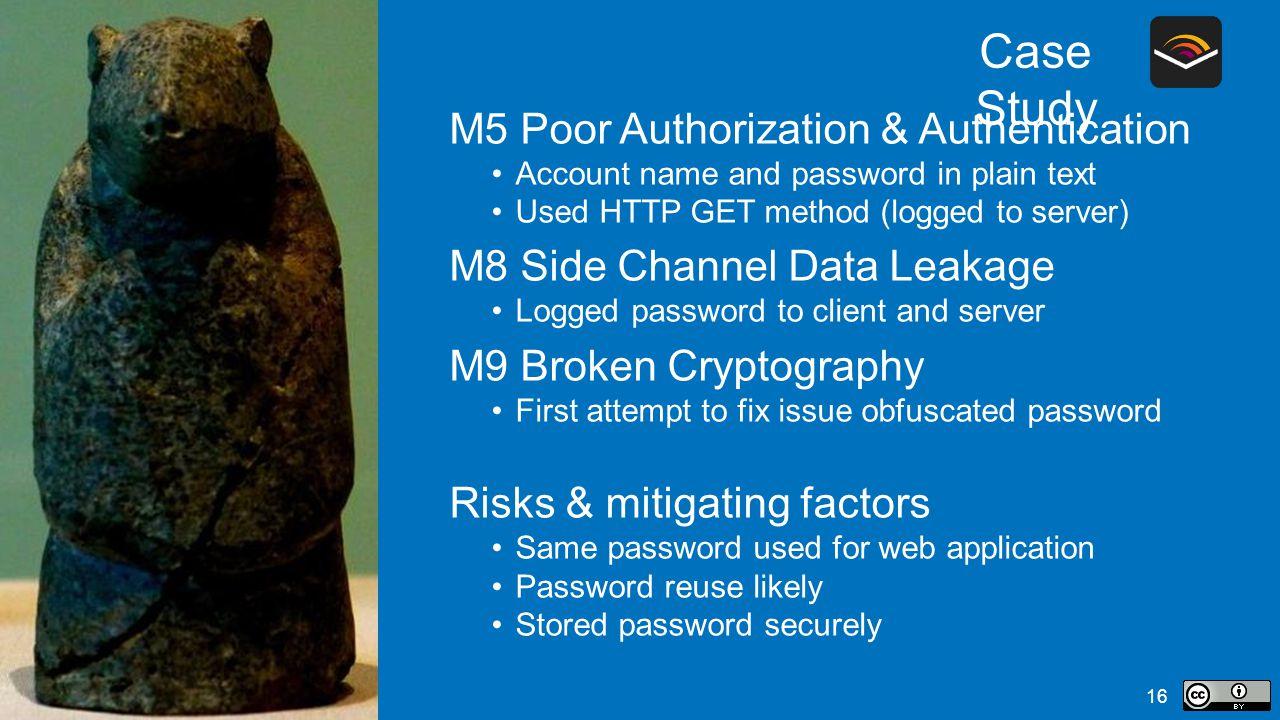 Case Study M5 Poor Authorization & Authentication