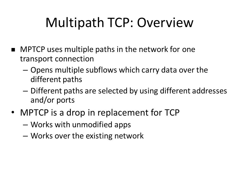 Multipath TCP: Overview