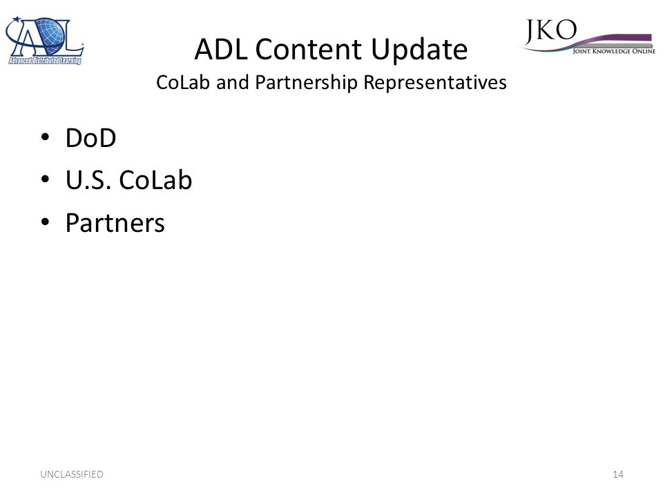 ADL Content Update CoLab and Partnership Representatives