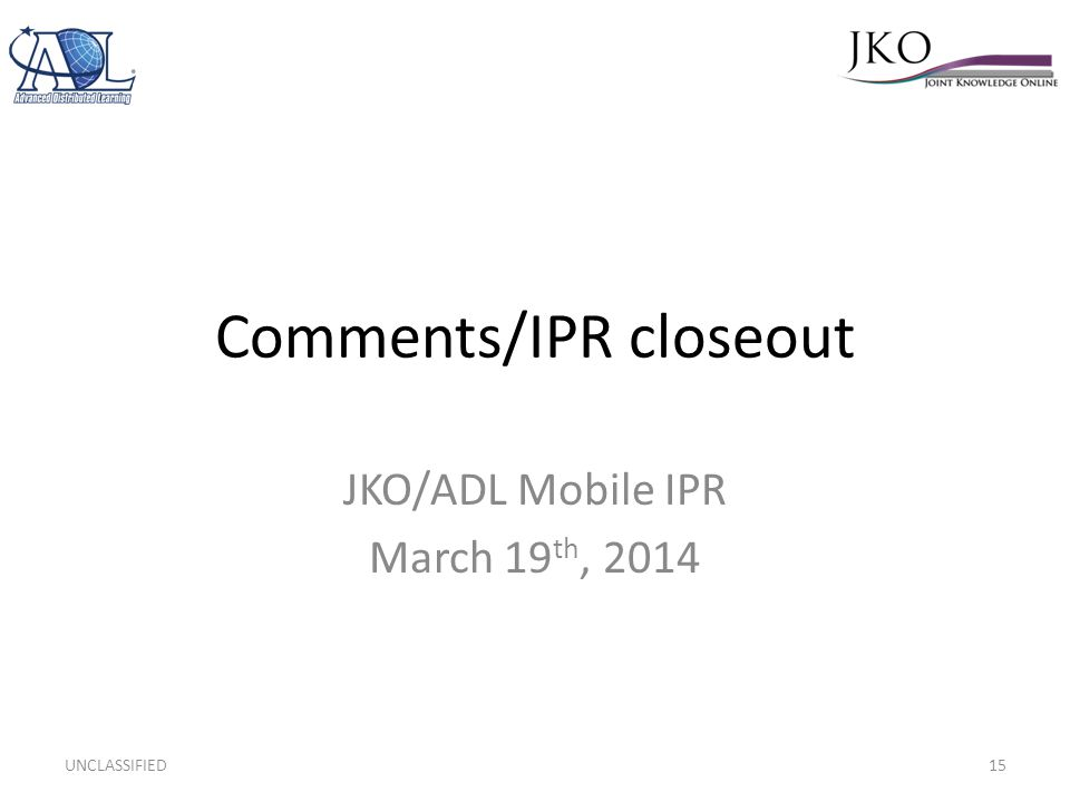 Comments/IPR closeout
