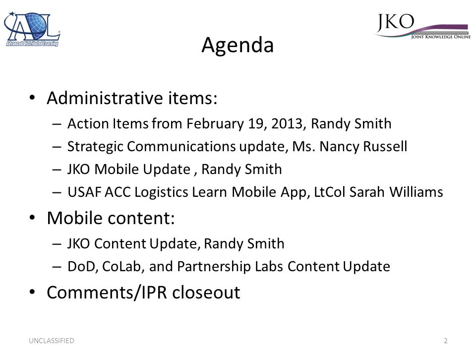 Agenda Administrative items: Mobile content: Comments/IPR closeout