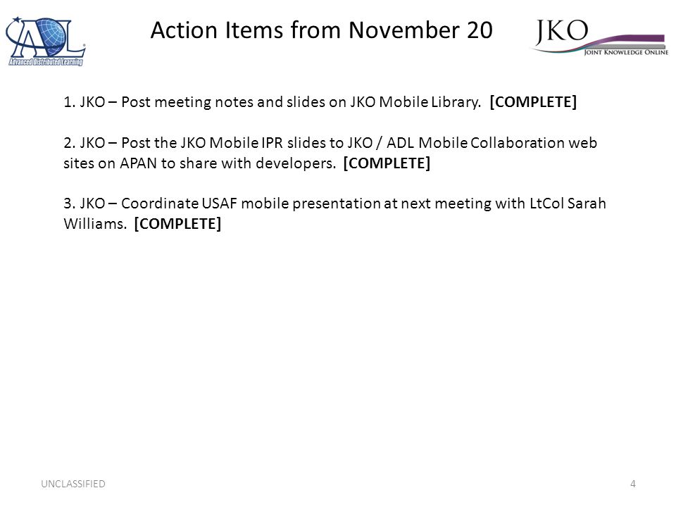 Action Items from November 20