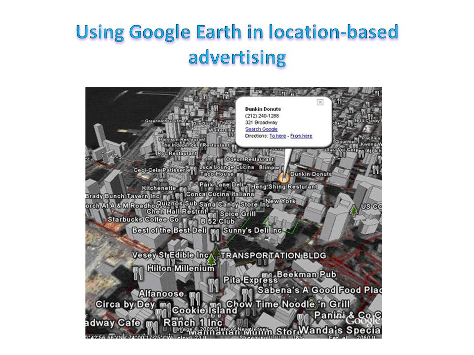 Example of location-based advertising