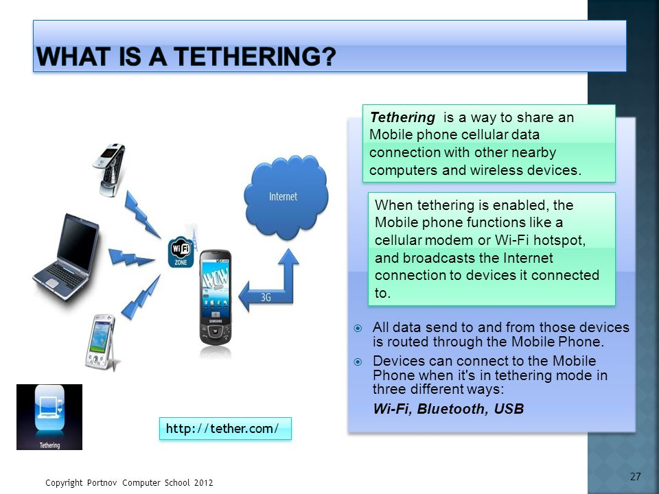 What is a Tethering Tethering is a way to share an Mobile phone cellular data connection with other nearby computers and wireless devices.