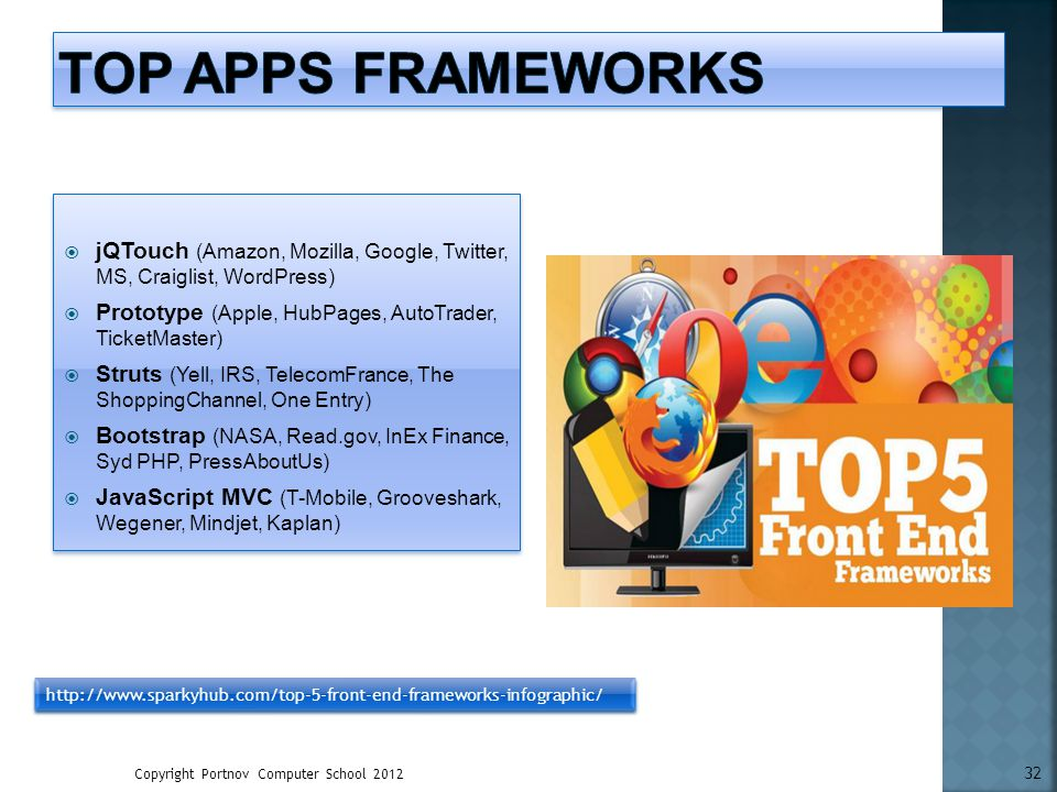 Top Apps Frameworks jQTouch (Amazon, Mozilla, Google, Twitter, MS, Craiglist, WordPress) Prototype (Apple, HubPages, AutoTrader, TicketMaster)