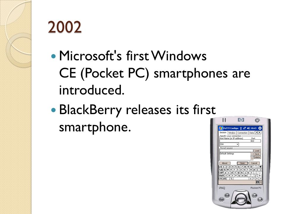 2002 Microsoft s first Windows CE (Pocket PC) smartphones are introduced.