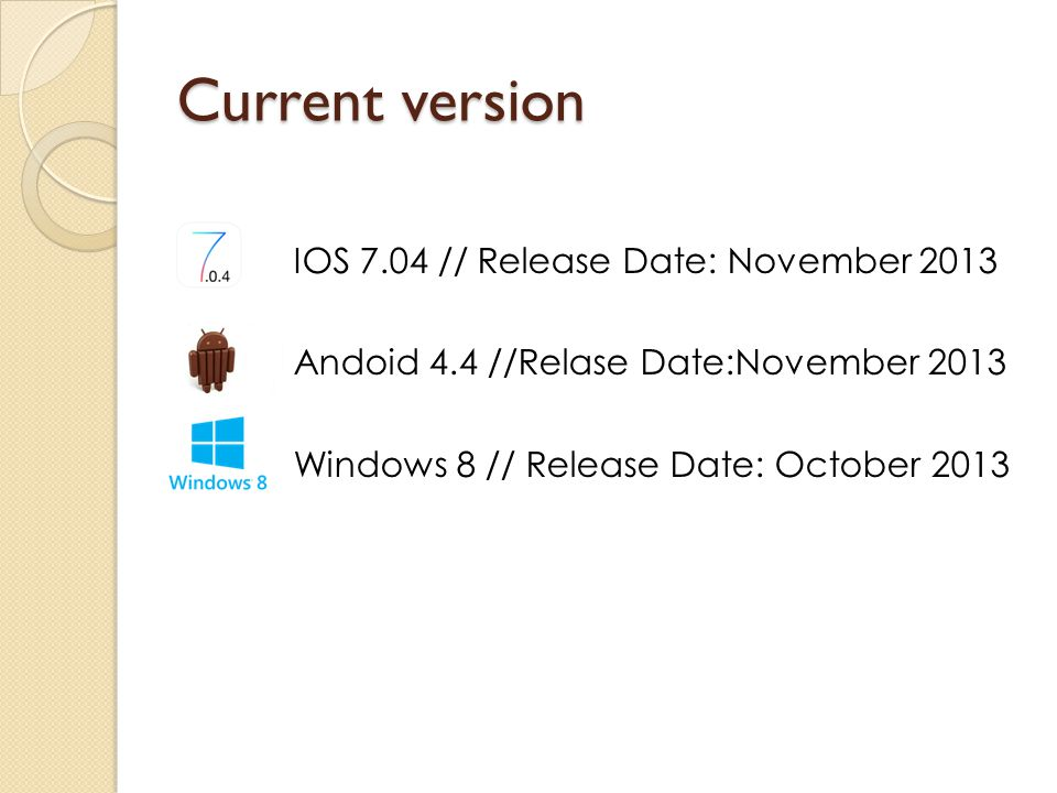 Current version IOS 7.04 // Release Date: November 2013 Andoid 4.4 //Relase Date:November 2013 Windows 8 // Release Date: October 2013