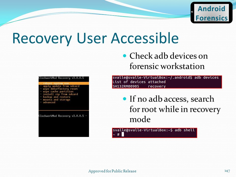 Recovery User Accessible