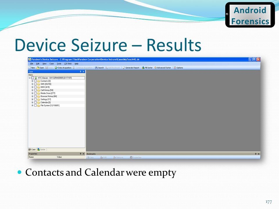 Device Seizure – Results