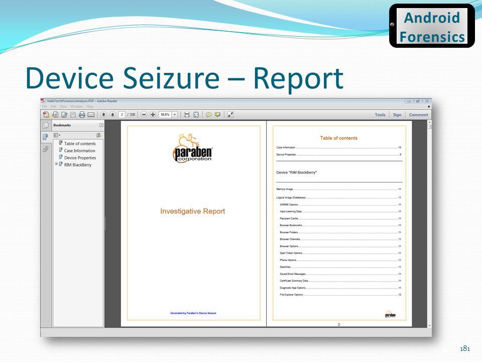 Device Seizure – Report