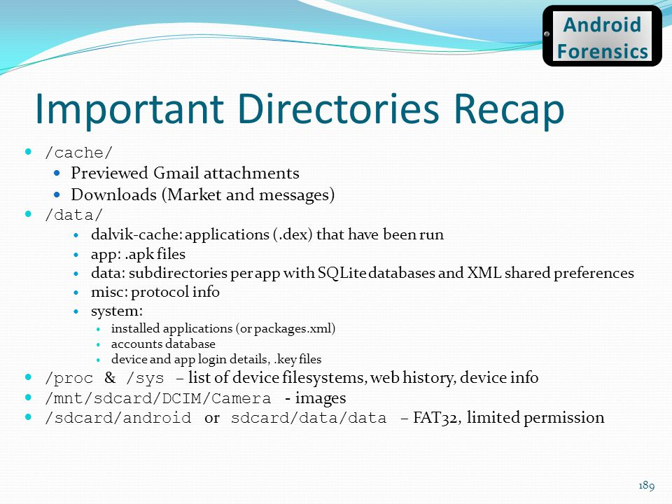 Important Directories Recap