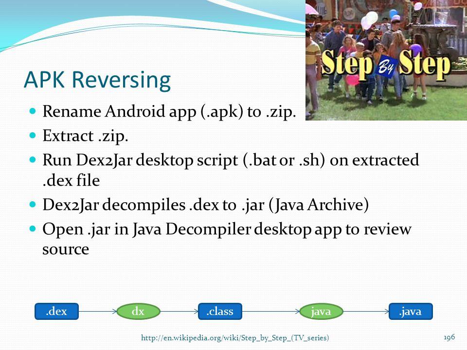 APK Reversing Rename Android app (.apk) to .zip. Extract .zip.