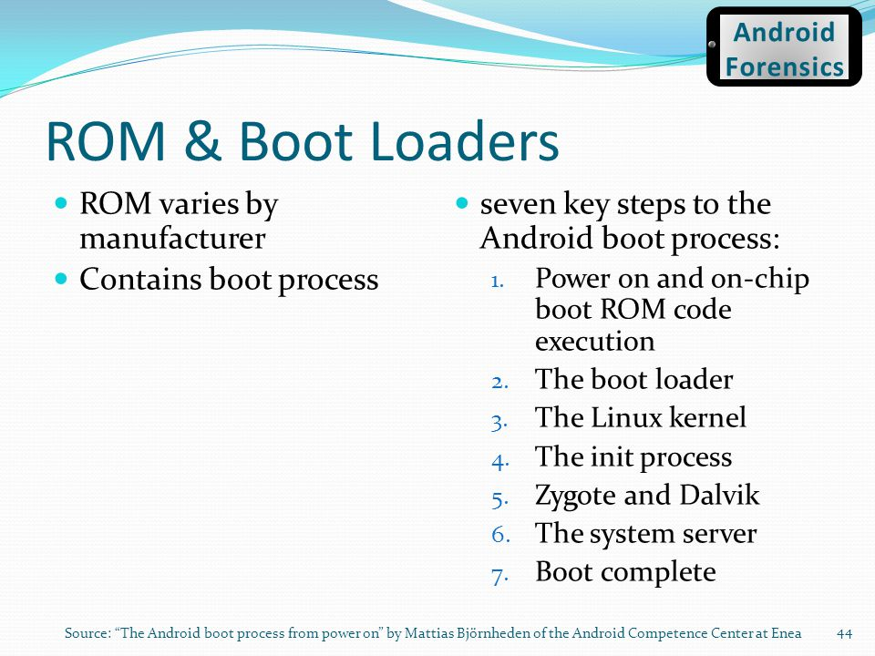 ROM & Boot Loaders ROM varies by manufacturer Contains boot process