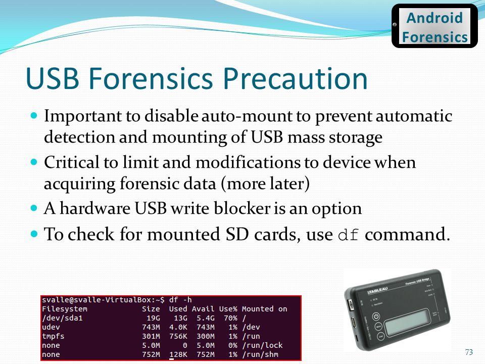 USB Forensics Precaution