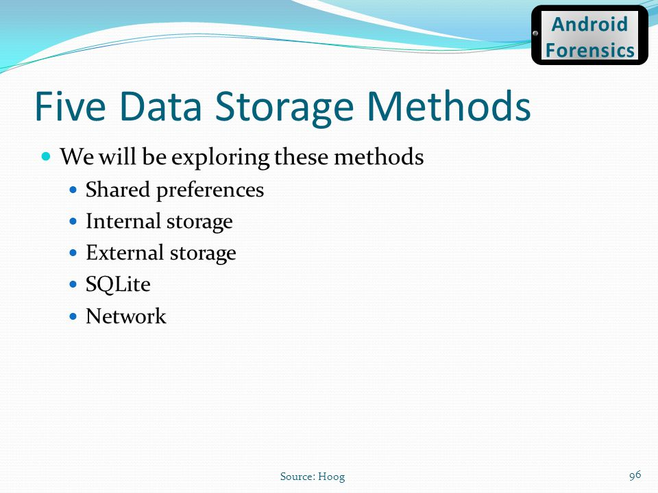 Five Data Storage Methods