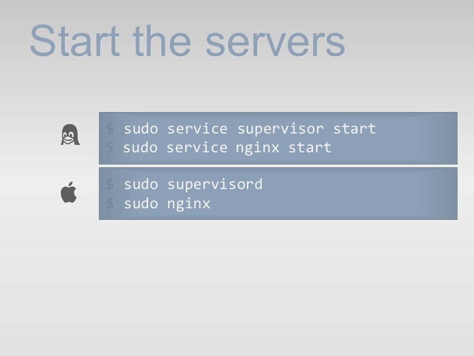 Start the servers $ sudo service supervisor start