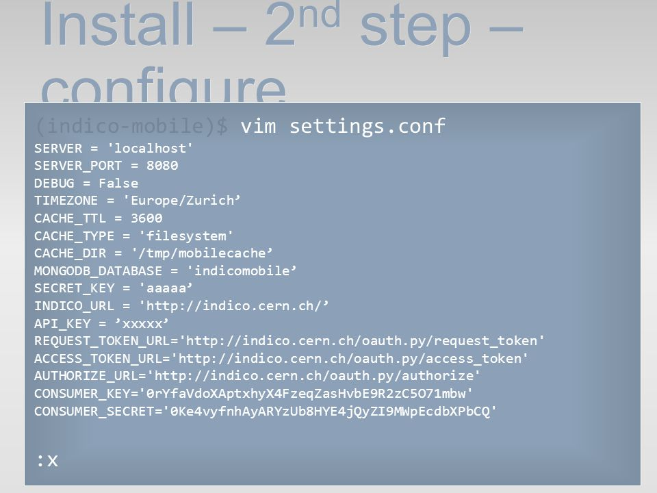 Install – 2nd step – configure