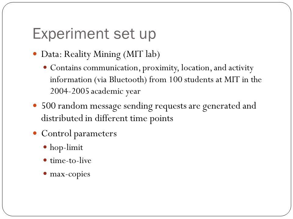 Experiment set up Data: Reality Mining (MIT lab)