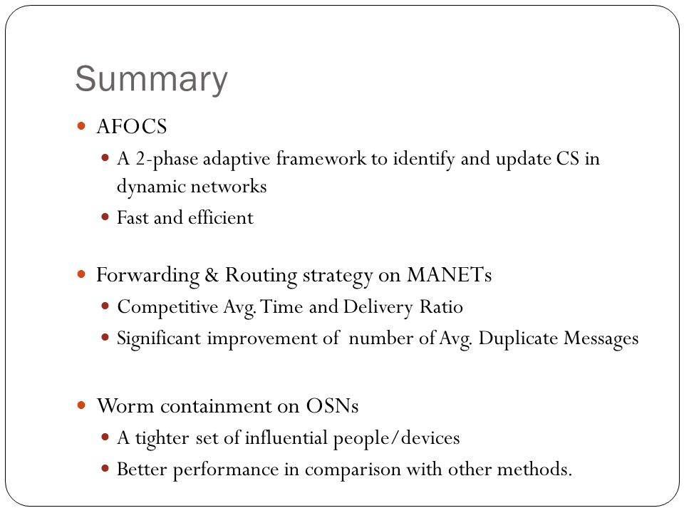 Summary AFOCS Forwarding & Routing strategy on MANETs