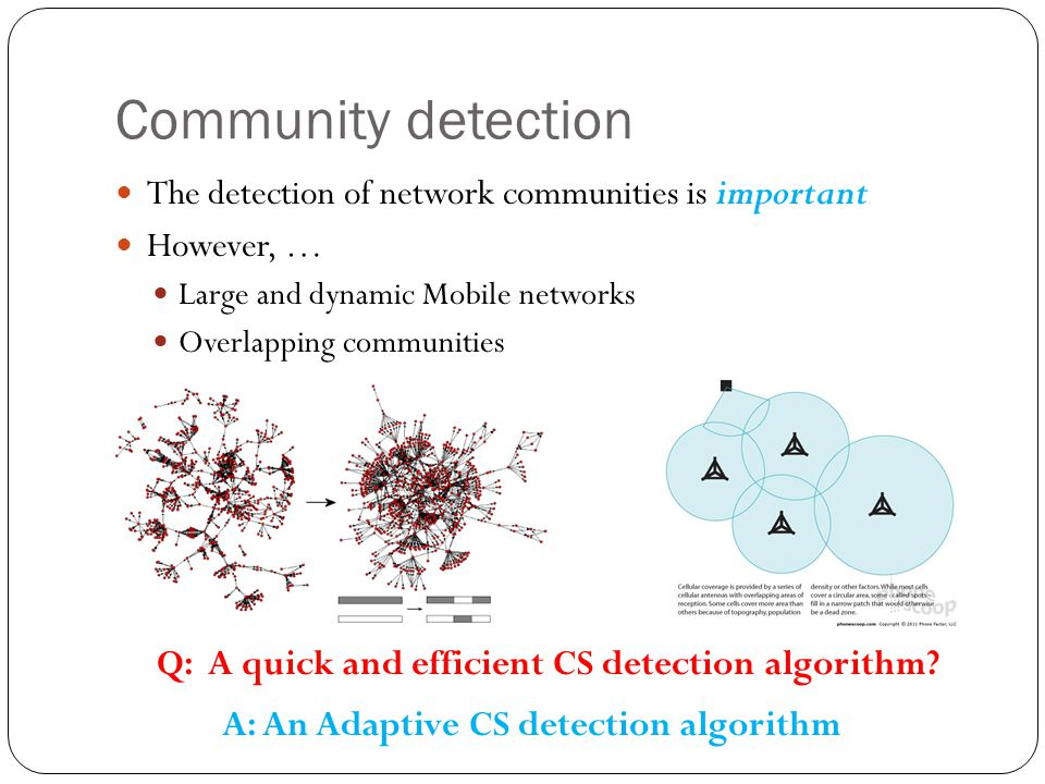 Community detection The detection of network communities is important