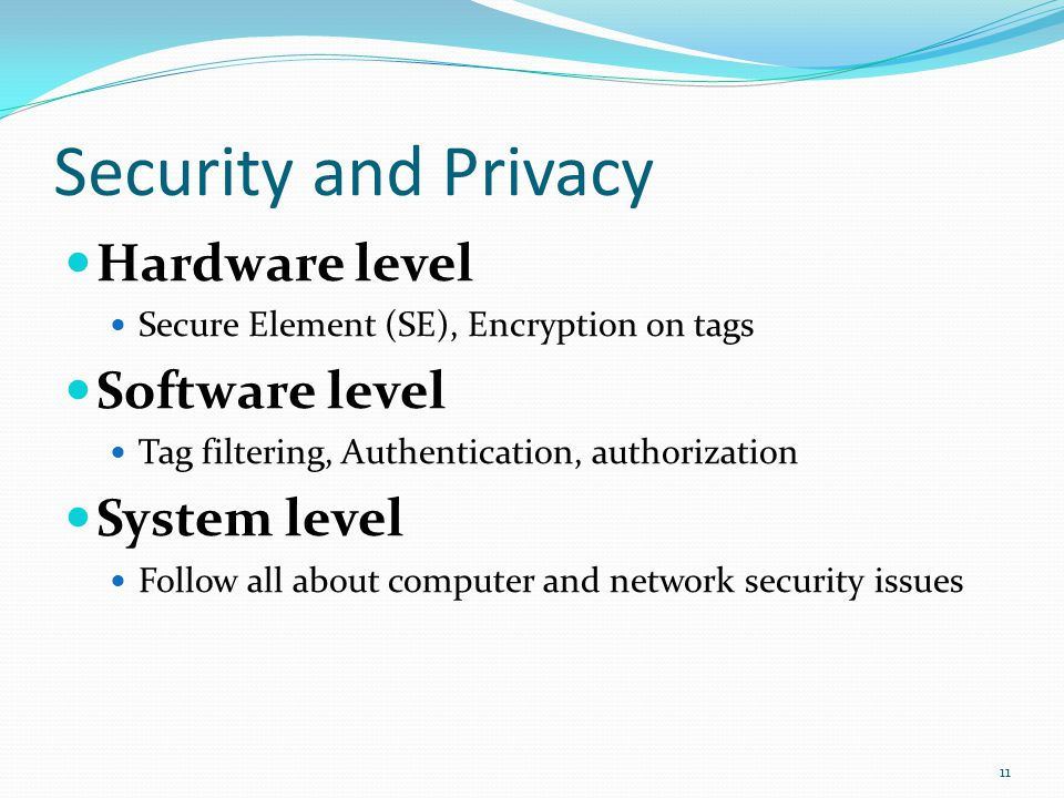 Security and Privacy Hardware level Software level System level