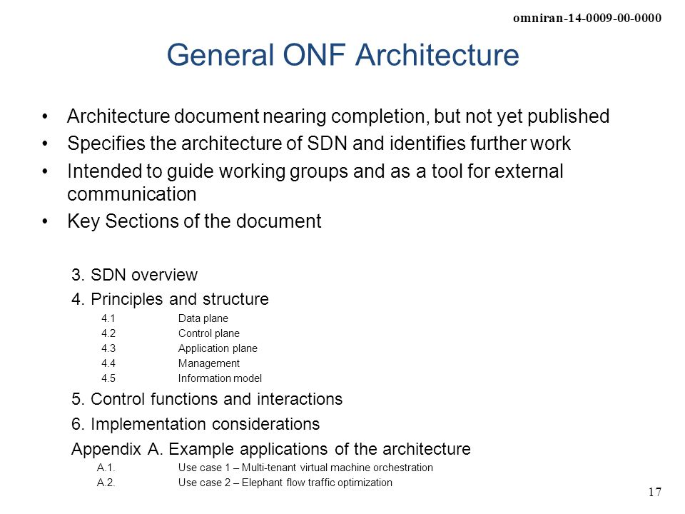 General ONF Architecture