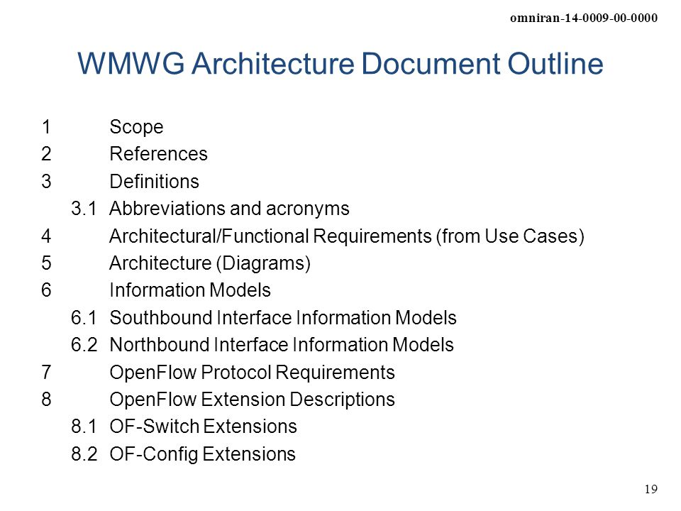 WMWG Architecture Document Outline