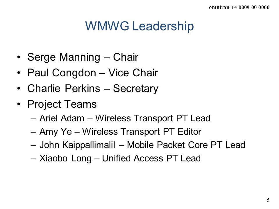 WMWG Leadership Serge Manning – Chair Paul Congdon – Vice Chair