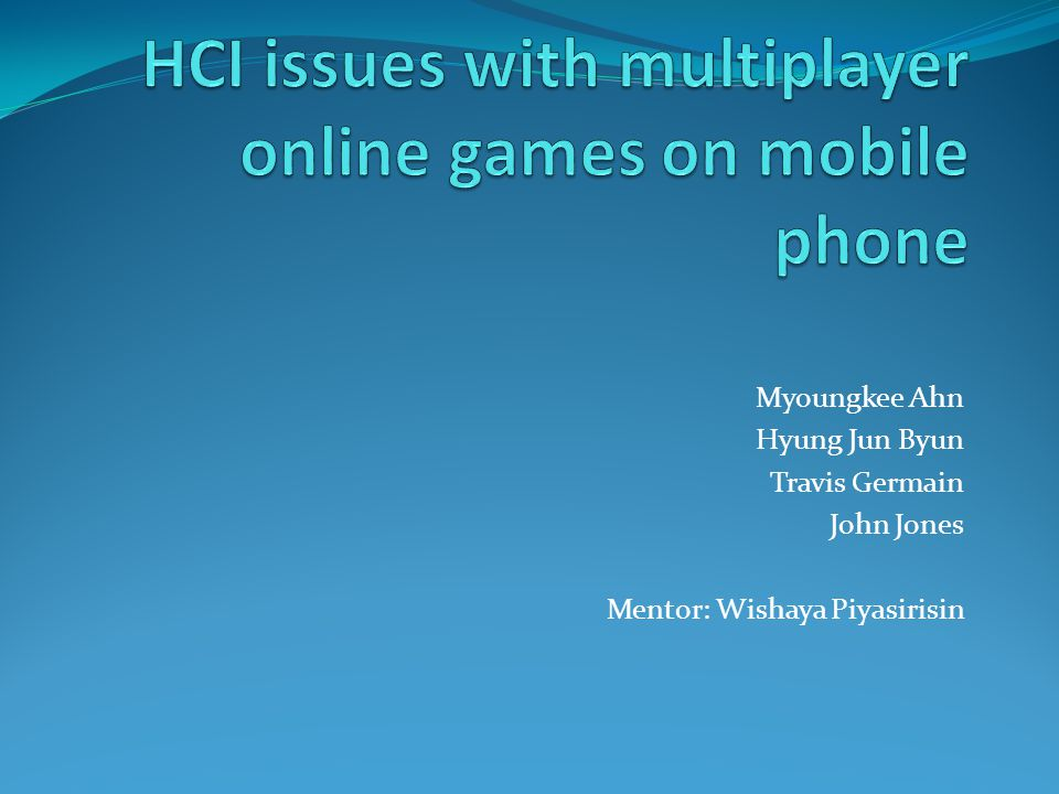 HCI issues with multiplayer online games on mobile phone