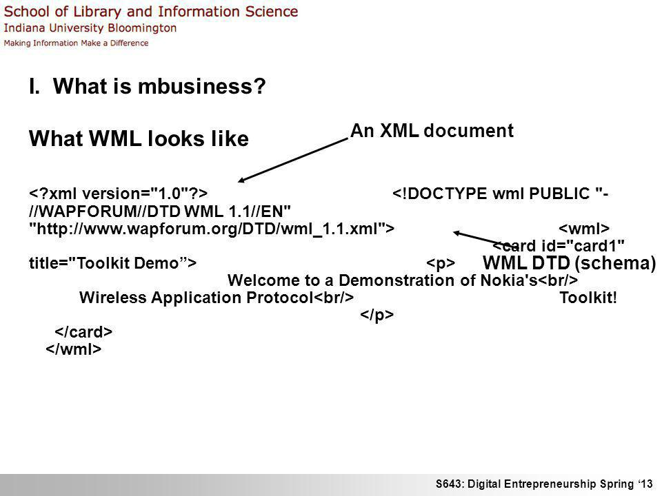 I. What is mbusiness What WML looks like An XML document