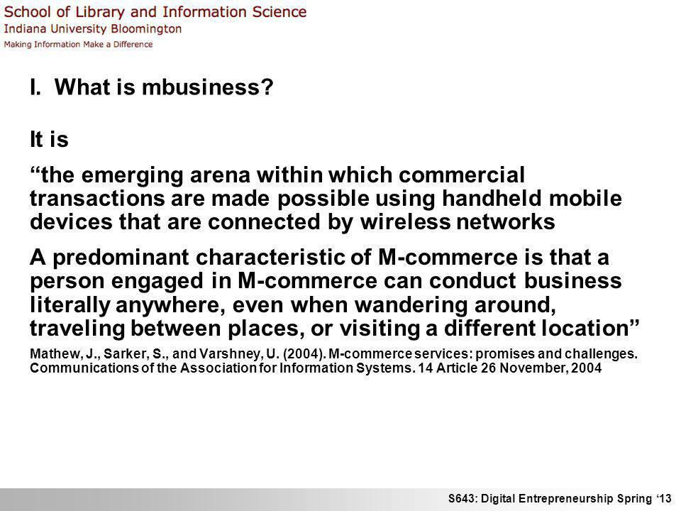 I. What is mbusiness It is